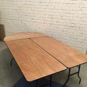 Pusiau apvalus stalas D153 ir staciakampiai stalai 183x76