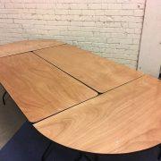 Pusiau apvalus stalas D153 x 2vnt ir 183x76 x 2vnt